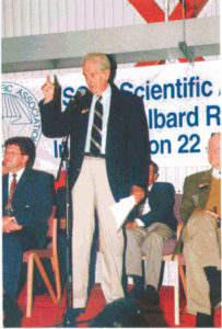 William Gordon giving the inauguration speech on the day of the inauguration of the EISCAT Svalbard Radar, 22 August 1996.